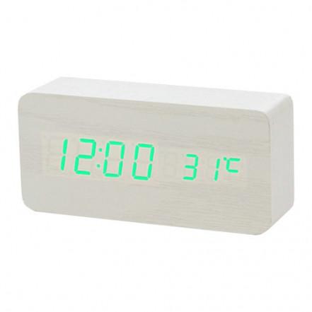 Часы сетевые VST-862-4 зеленые, (корпус белый) температура, USB