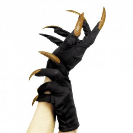 Перчатки с когтями короткие (черные с золотым)