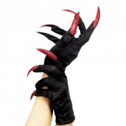 Перчатки с когтями короткие (черные с красным)